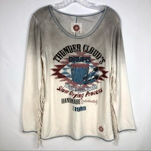 Double D Ranch Thunder Clouds Drums Tee Size Small